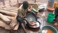 Amalgamation of gold particles with mercury in the concentrate, small scale miners endanger the health