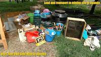 Gold prospecting equipment before the load and transport for the gold mining site in Uganda