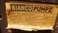 Bianco Pumpz water pump, model BIA-INOX120PC with 5-50 liters per minute