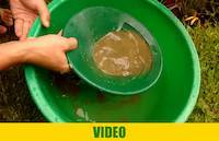 Panning for gold out of crushed rock