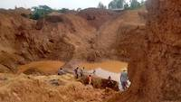 Prospecting for gold on the open pit