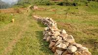 February 27th 2020, Using rocks to demarcate the mining site in Uganda
