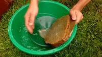 Wash the surface after crushing rocks into the gold pan