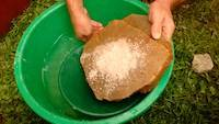 Carefully wash the surface after crushing the rocks into the gold pan