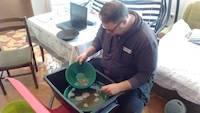 Mr. Dejan learning gold panning