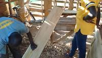 Carpenter choosing proper wooden boards