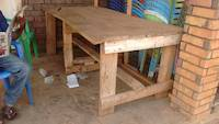 Simple improvized wooden table