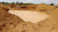 Water pond to handle material