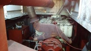 The engine in the dredge boat