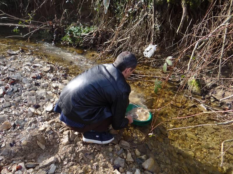 Washing the sand and gravel in the stream in Posavina, Croatia