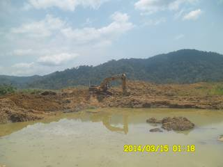The excavator on the mining site in Akanteng, Ghana
