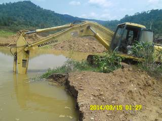 Komatsu Excavator on the mining site in Ghana