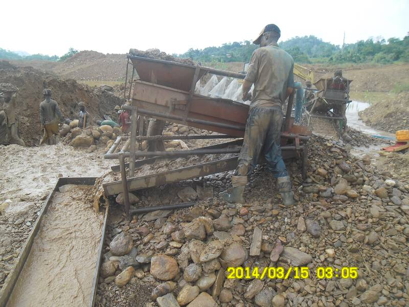 Two soagum gold washing plants in Ghana on the mining site