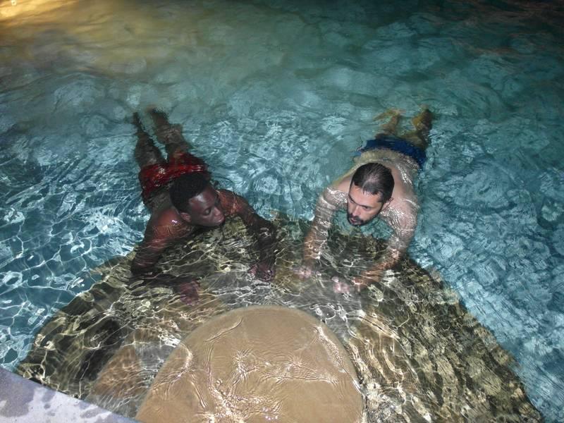 Mr. Louis in the swimming pool in Talentos beach, Mombasa, Tanzania