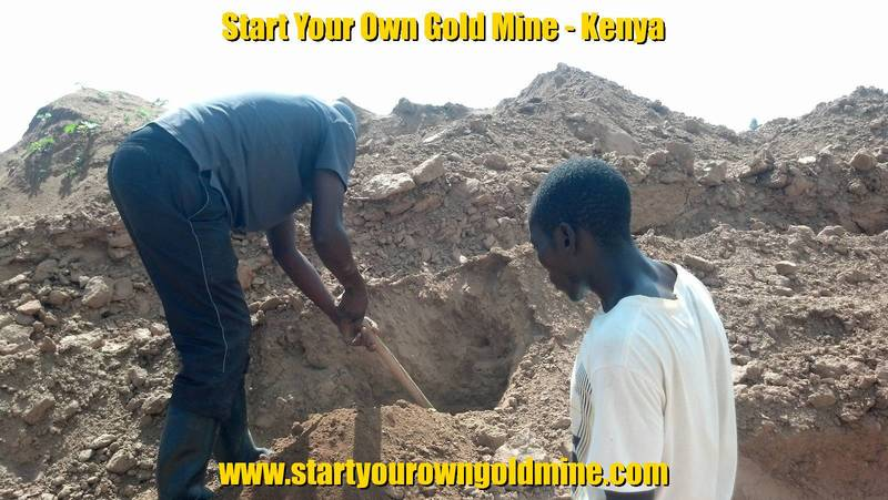 Mr. Peter Mwita prospecting for gold on tailing heaps in Kenya