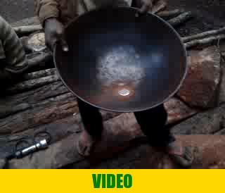 Mercury in miner's pan