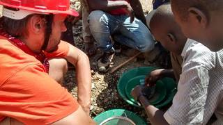 Gold prospecting on the mining site in Tanzania