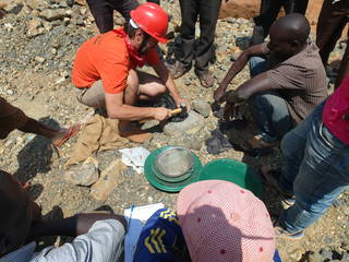 Prospecting for gold in mother lode rocks