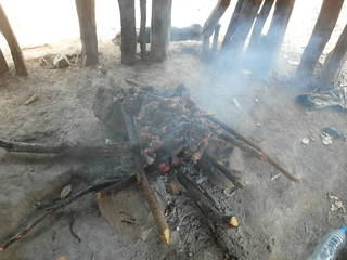 Roasted meat on the mining site