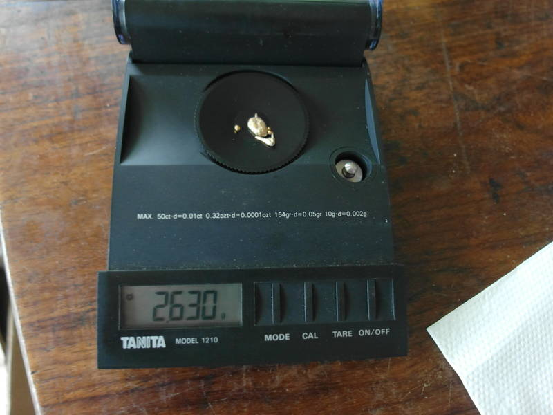 2.63 grams of gold after melting