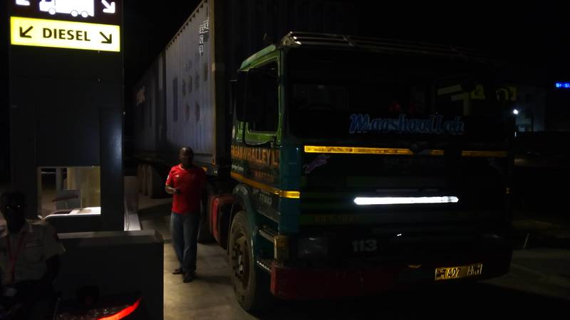 Container in transport through Tanzania to our mining site