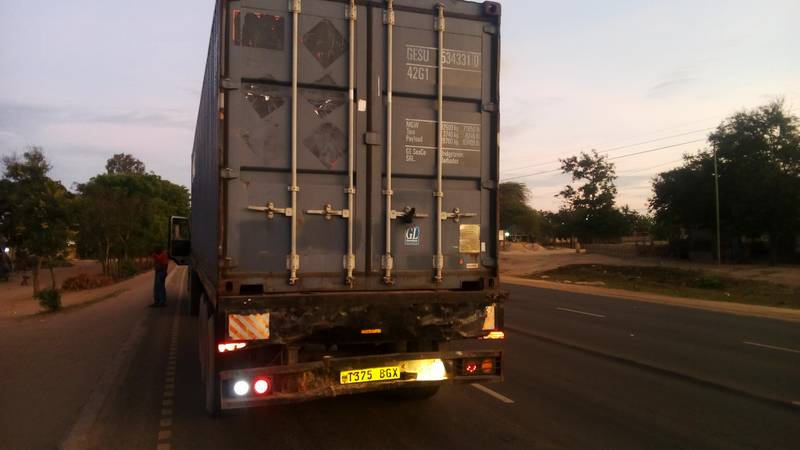 Truck transporting the container to the mining site in Tanzania