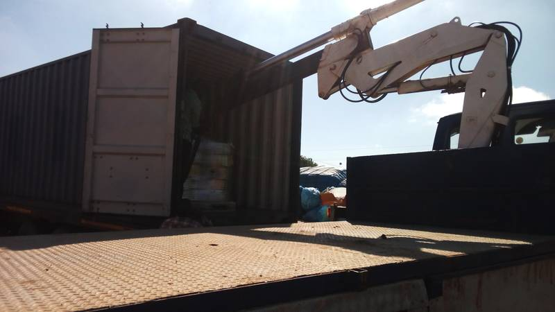Offloading goods from our container
