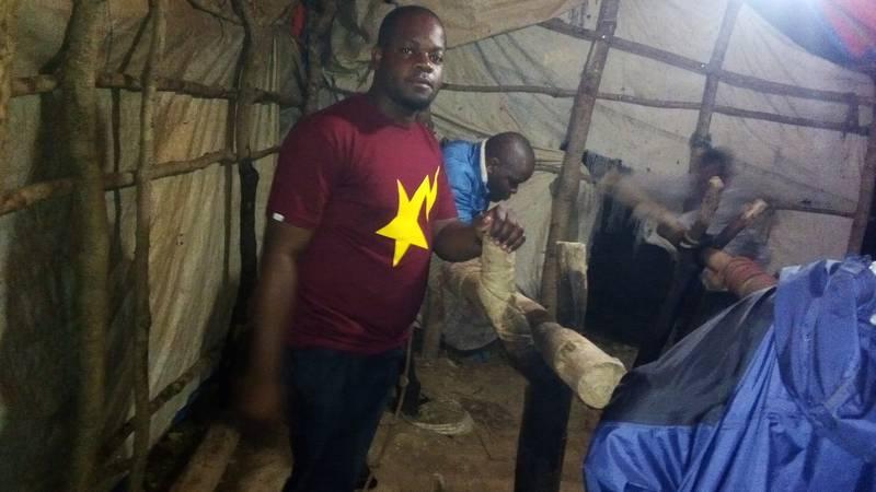 Ezekiel on the mining shaft in Kahama