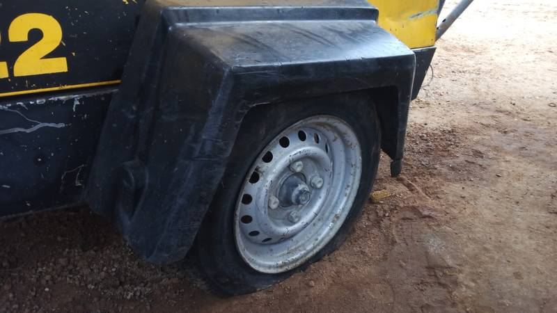 Flat tyre on compressor