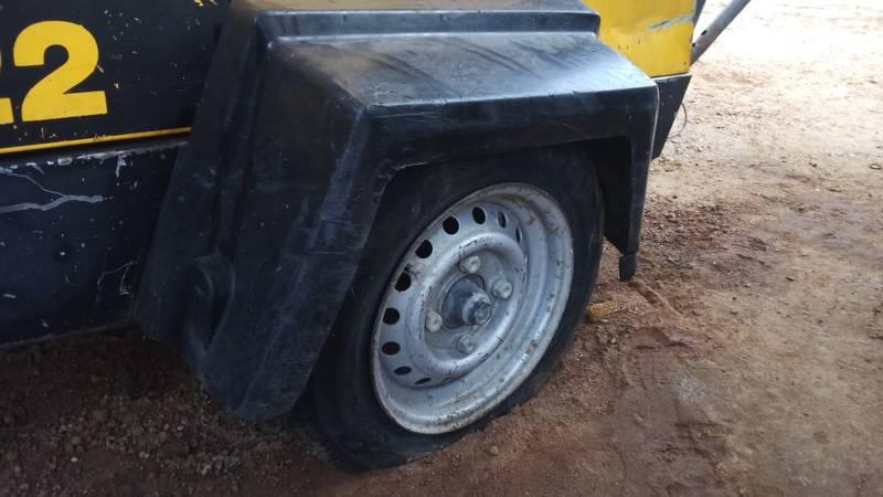 Flat tyre on compressor