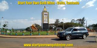 Main roundabout in Geita, Tanzania, the major gold mining town in Tanzania