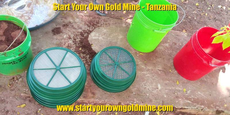 Sieves and buckets for gold prospecting