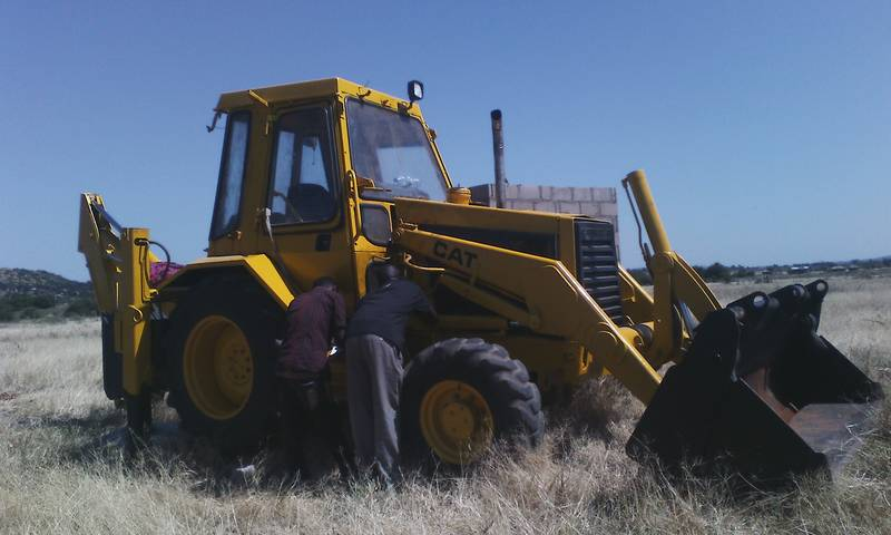Wheel loader being repaired
