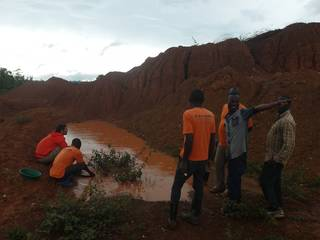 Gold panning the overburden soil