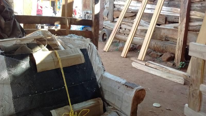 Screens waiting at the carpenter