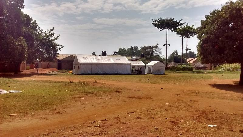 "USAID tent with ""free vaccination"" for Ugandan people"