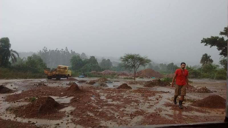 Rain on the mining site