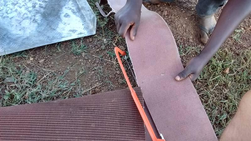 Cutting and preparing the vortex matting for the sluice