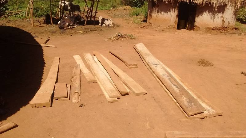 Wooden boards obtained from a village
