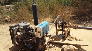 The engine for rudimentary ball mill in Uganda, East Africa