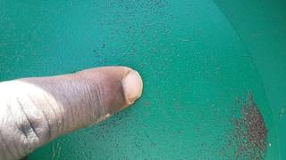 One gold particle found in river Okame, Busia, Uganda