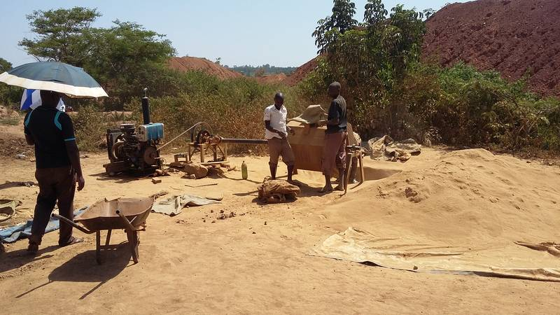 Rudimentary ball mill in Busia, Uganda