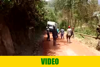 February 26th 2020, Very slippery road on the way to the gold mining site
