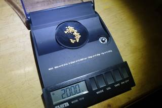 March 9th 2020, exactly 2 grams of natural gold nuggets on the balance scale