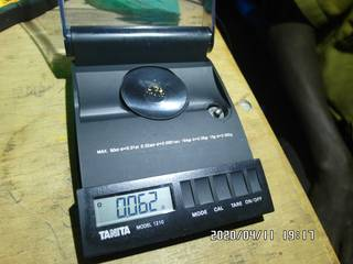 0.062 grams of gold on the balance scale