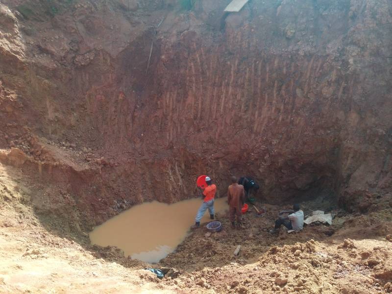 Scenes from gold panning in open pit